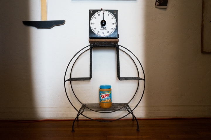 Darkroom timer with peanut butter; a domestic still life